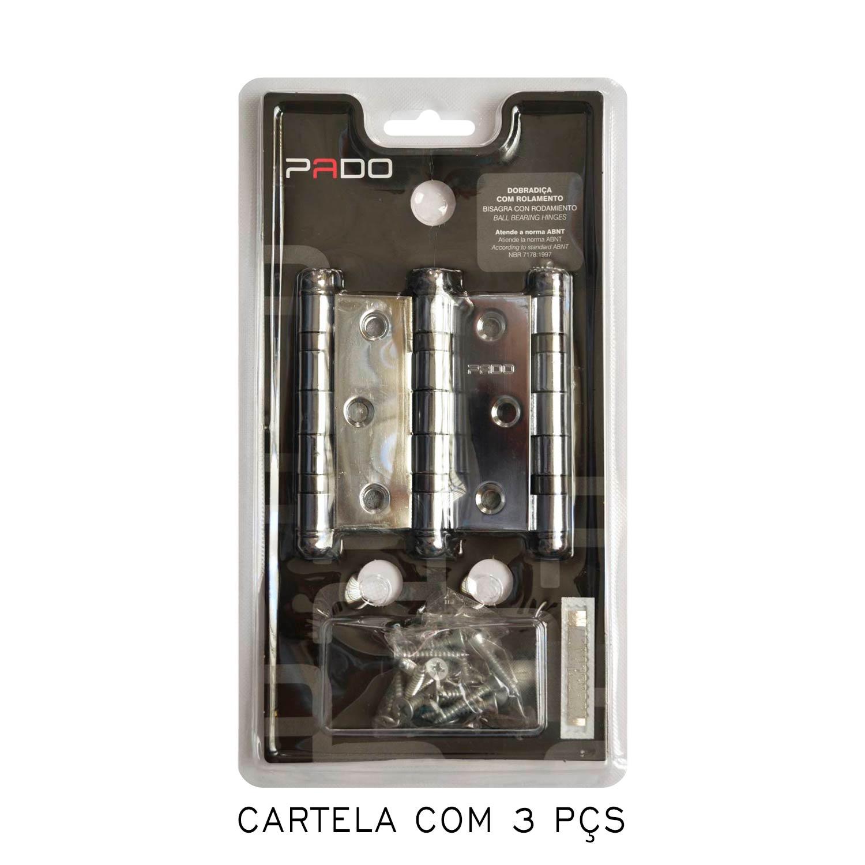 kit Dobradiça Pado com 08 cartelas 3025 e 01 cartela 3530 cromada