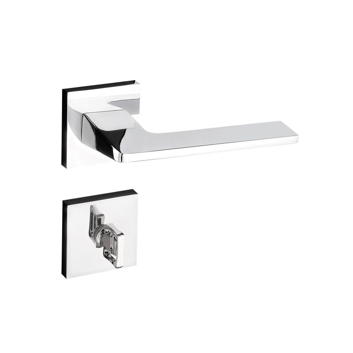Kit fechadura pado cromada 04 interna 01 banheiro