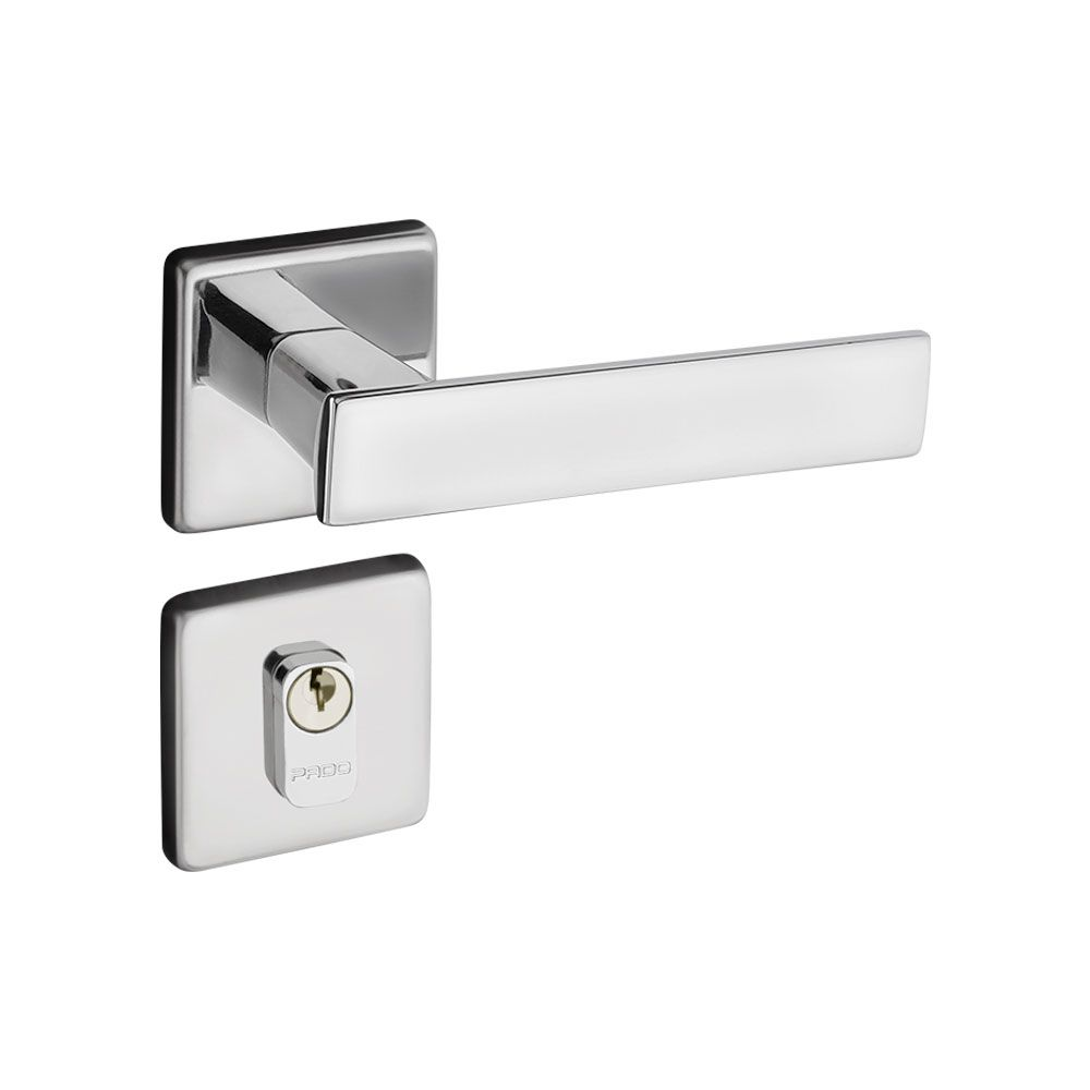 Kit Fechadura Pado Quadra Cromada: 3 Interna; 2 Banheiro
