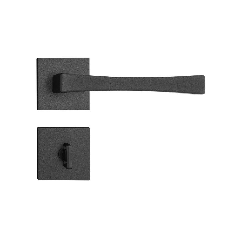 Kit Fechadura pado Vivaldi Preta 03 interna 1 banheiro