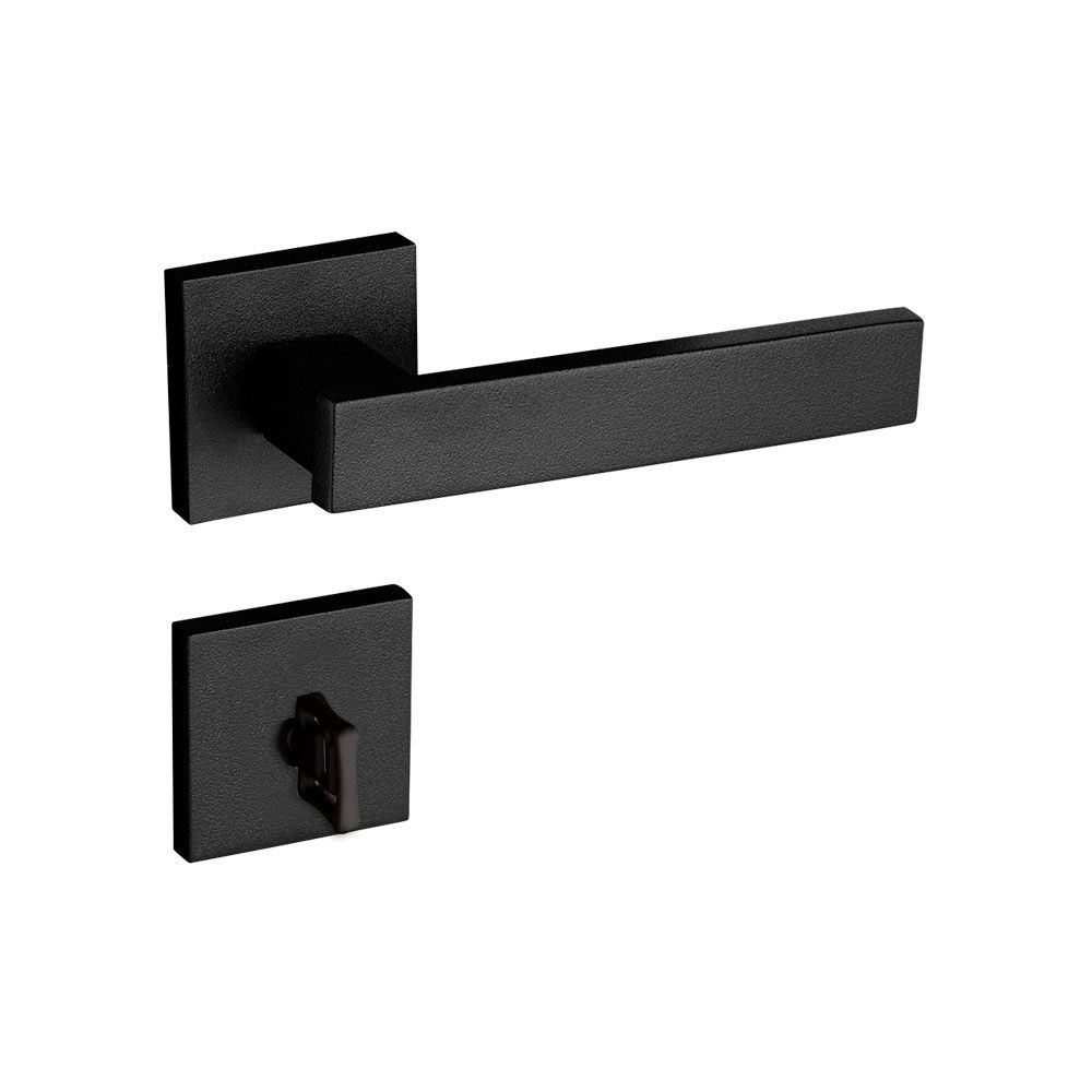 Kit Fechadura Retro Preta:  1 Banheiro 1 Cartela de dobradiça preta