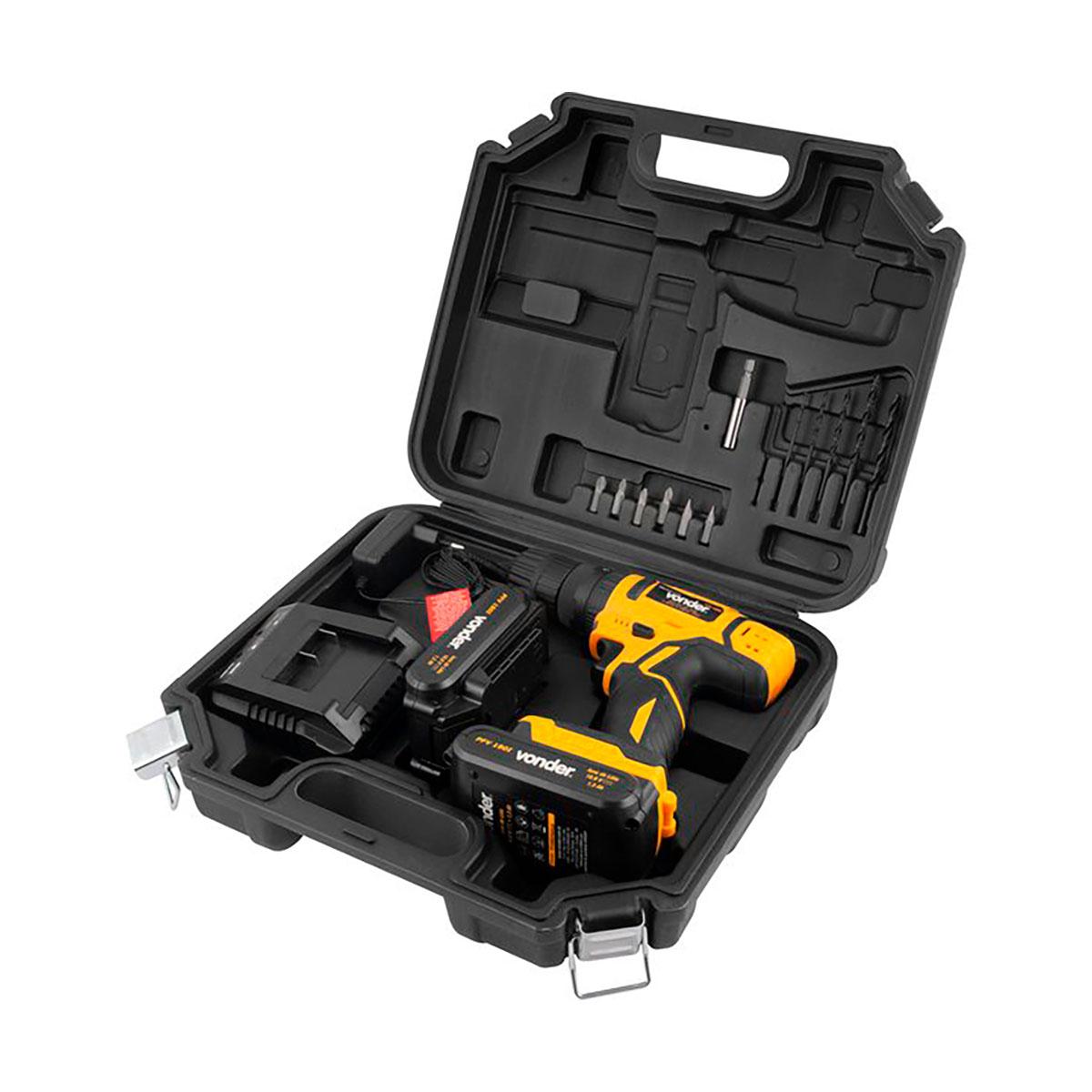 Parafusadeira furadeira vonder com impacto 02 bateria 18V carregador bivolt automático PFV 180I