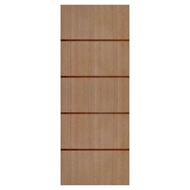 Porta de madeira laminada com friso decorativo PLF - 04 Angelim