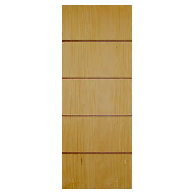Porta de madeira laminada com friso decorativo PLF - 04  Garapeira