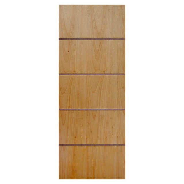 Porta de madeira laminada com friso decorativo PLF - 04  Tauari