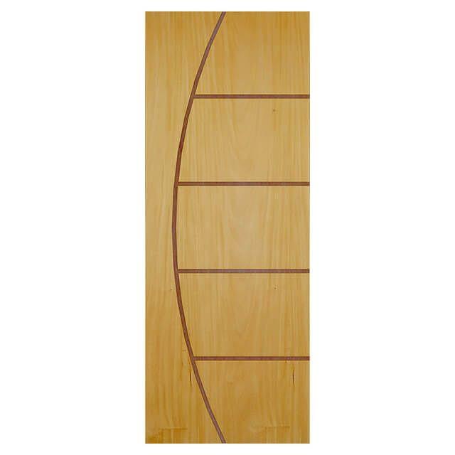 Porta de madeira laminada com friso decorativo PLF - 13  Garapeira