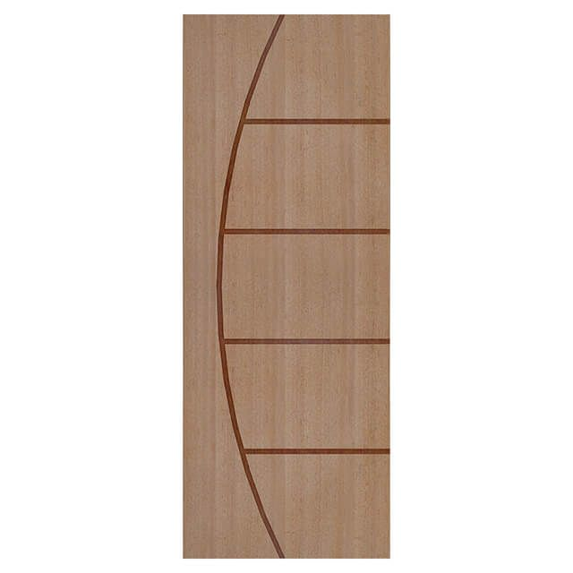 Porta de madeira laminada com friso decorativo PLF - 13 Angelim