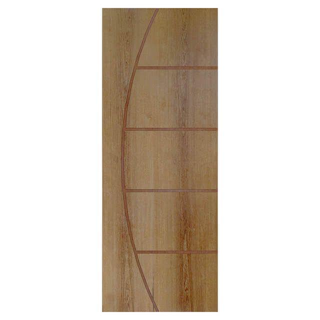 Porta de madeira laminada com friso decorativo PLF - 13 Goiabão