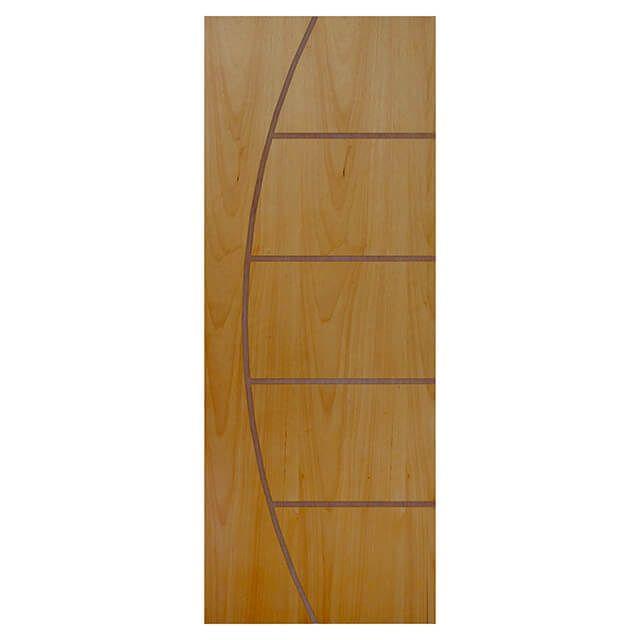 Porta de madeira laminada com friso decorativo  PLF - 13 Tauari