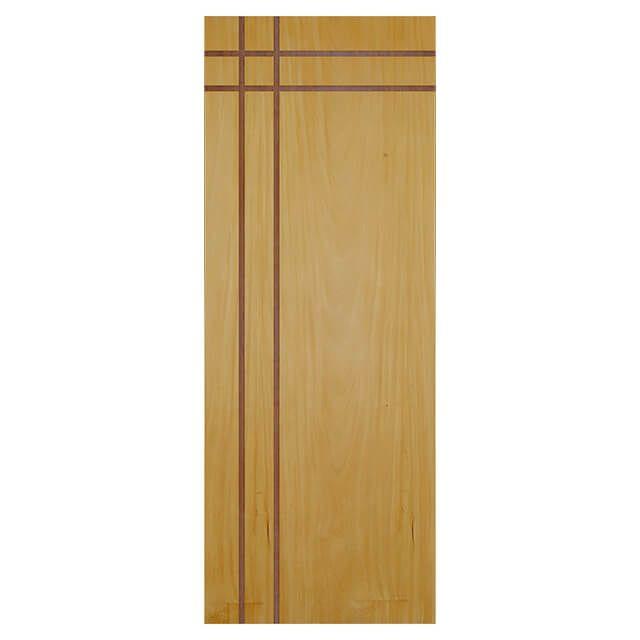 Porta de madeira laminada com friso decorativo PLF - 16  Garapeira