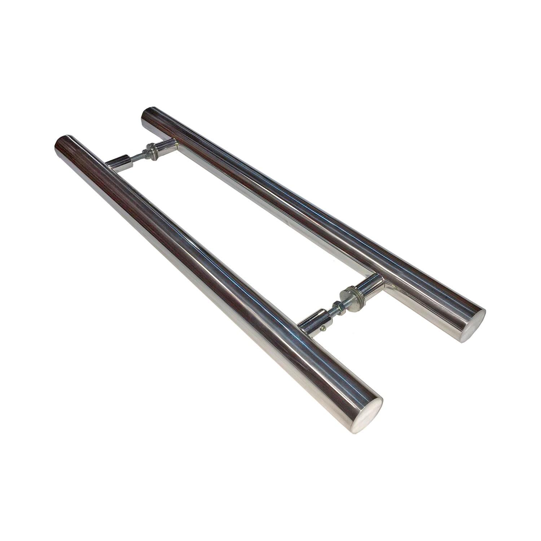 Puxador para porta de madeira e vidro modelo 7001 38x100 alumínio polido