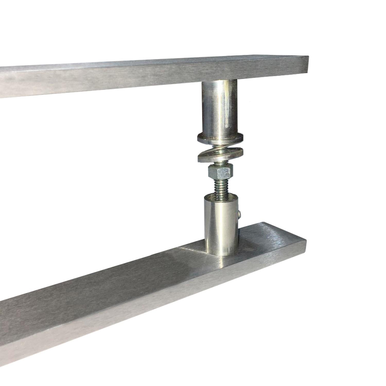 Puxador para porta de madeira e vidro modelo 7003 38x80 alumínio escovado