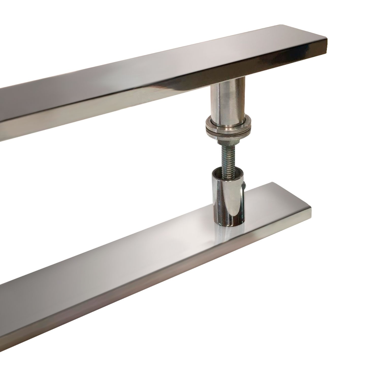 Puxador para porta de madeira e vidro modelo 7003 38x80 cromado