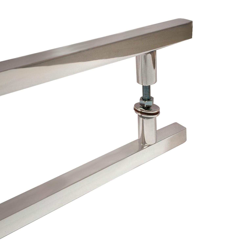 Puxador para porta de madeira e vidro modelo 7006 19x40 alumínio polido