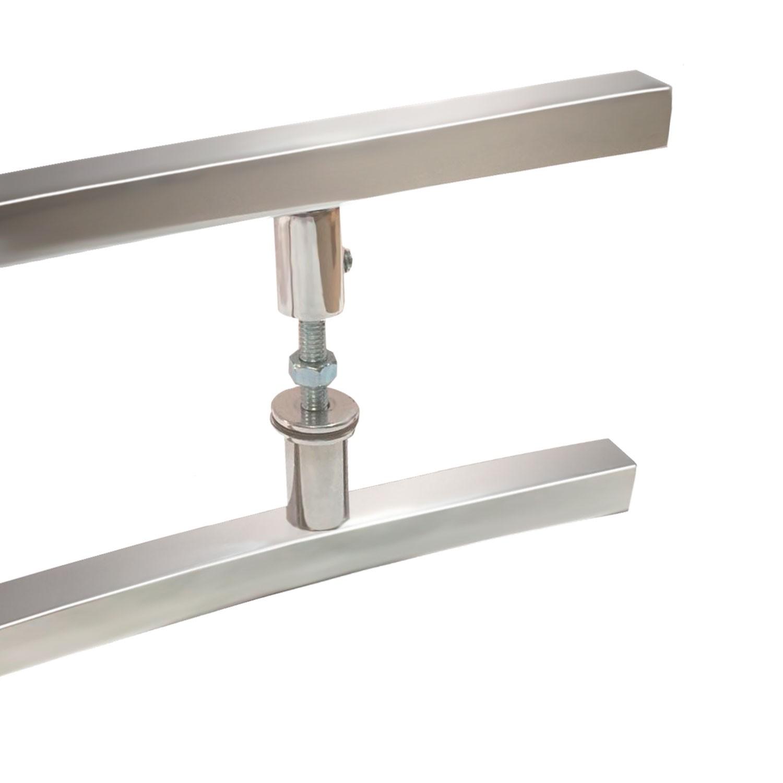 Puxador para porta de madeira e vidro modelo 7010 19x80 alumínio polido