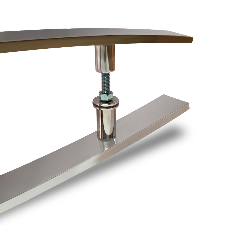 Puxador para porta de madeira e vidro modelo 7012 38x80 cromado