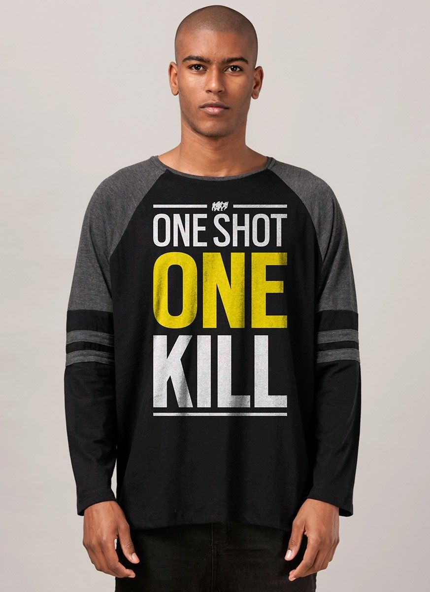 Blusa Raglan Masculina Rainbow Six One Shot One Kill