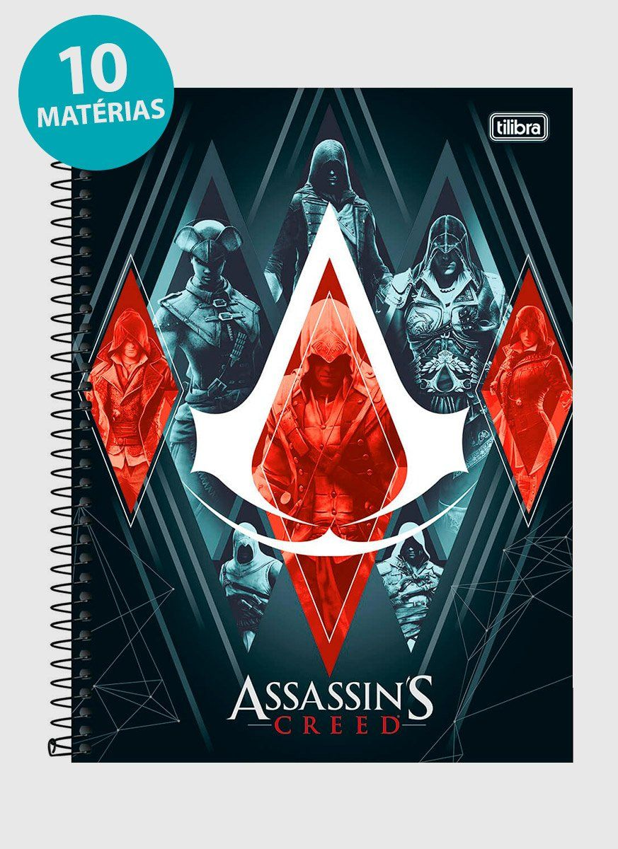 Caderno Assassin's Creed Irmandade 10 Matérias