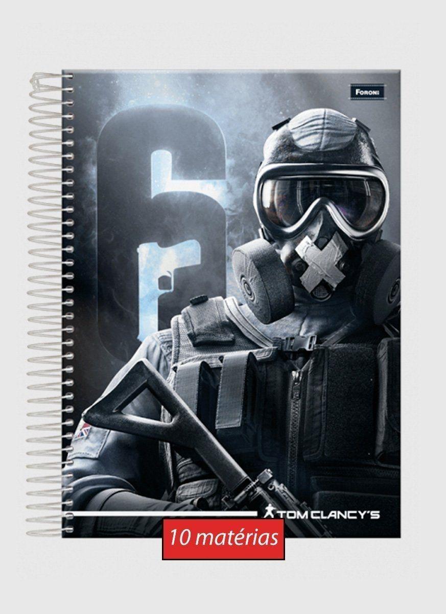 Caderno Rainbow 6 Soldier 10 Matérias