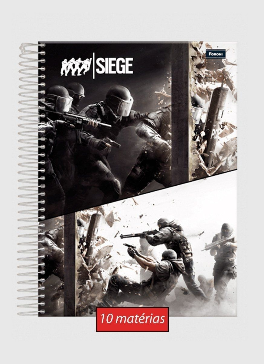 Caderno Rainbow Six Action 10 matérias