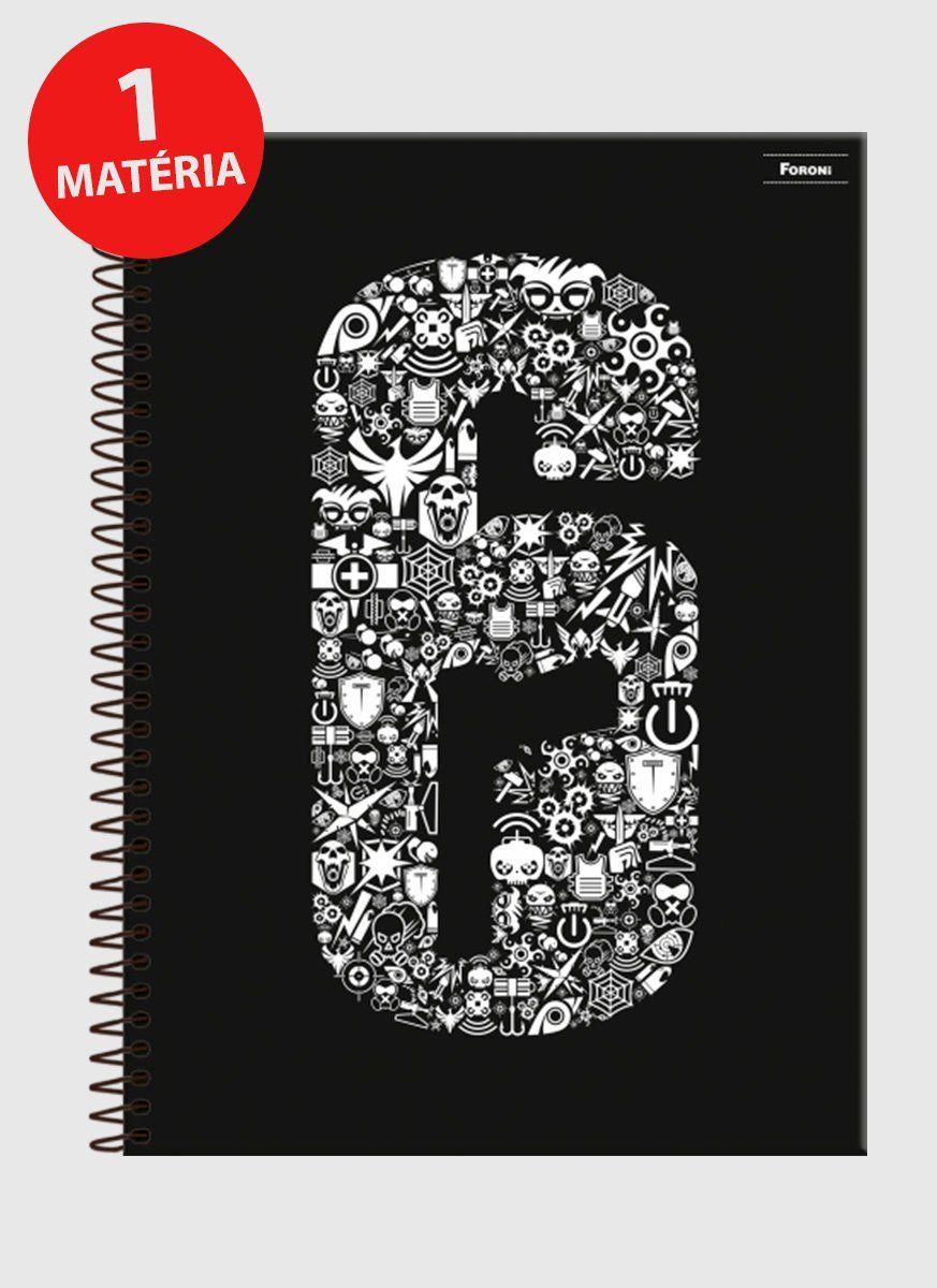 Caderno Rainbow Six Logo Symbols 1 Matéria