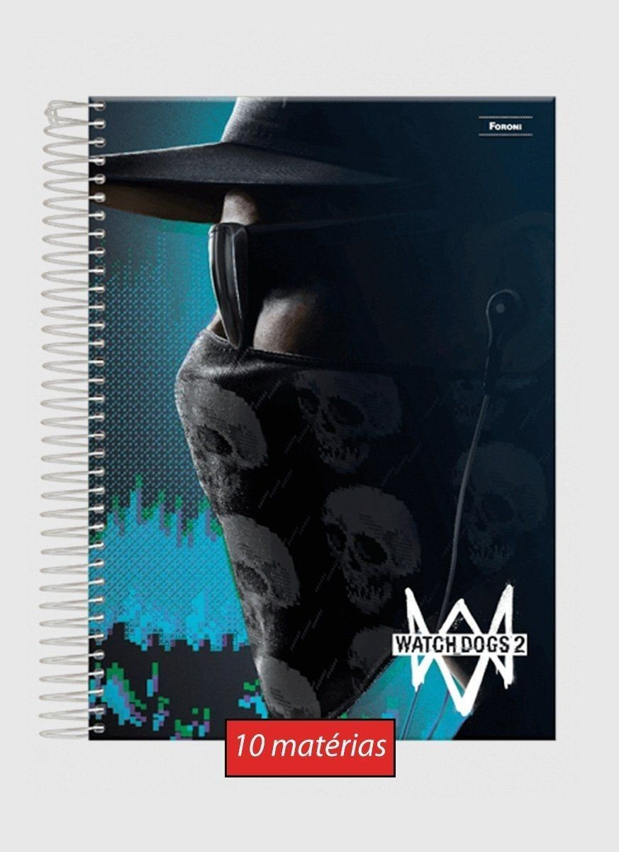 Caderno Watch Dogs 2 Mask 10 Matérias