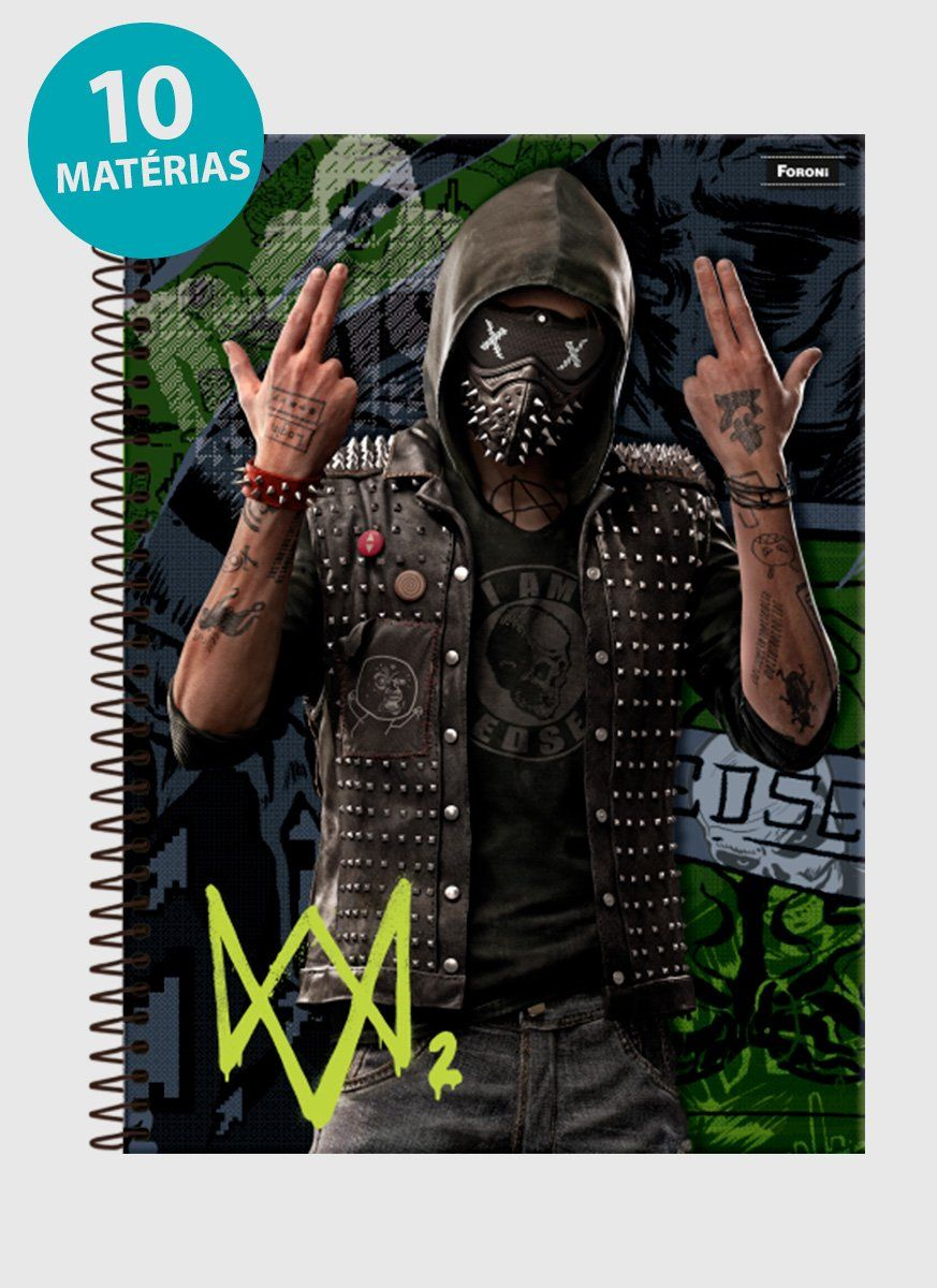 Caderno Watch Dogs 2 Wrench 10 Matérias
