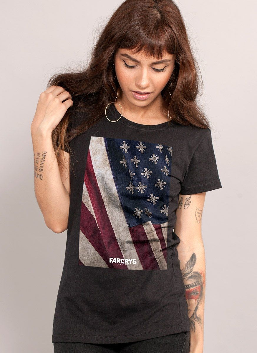 Camiseta Feminina Far Cry 5 Cult Flag Black