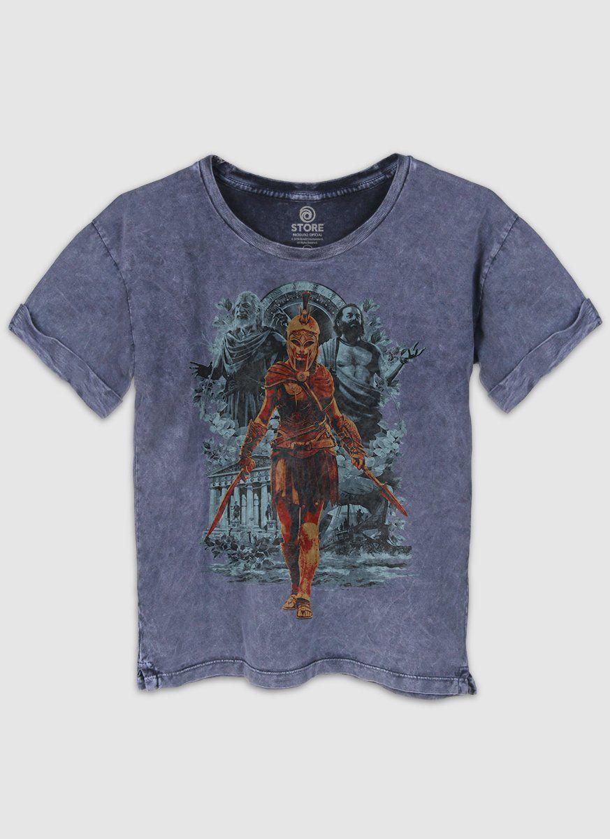 Camiseta Feminina Marmorizada Assassin's Creed Odyssey Kassandra Warrior