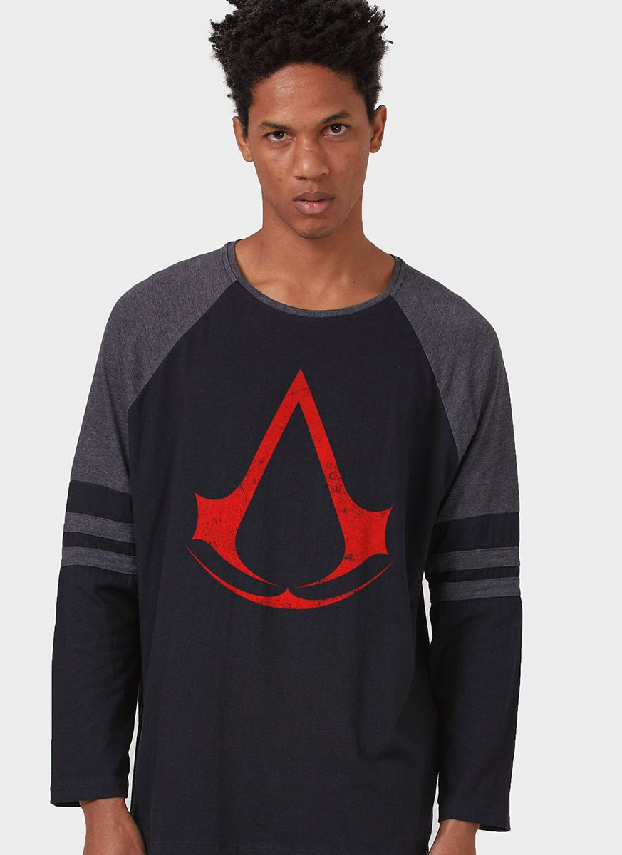 Camiseta Manga Longa Masculina Assassin's Creed Logo
