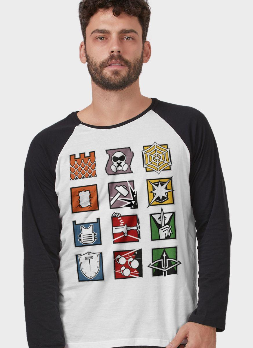 Camiseta Manga Longa Masculina Rainbow Six Símbolos Operadores