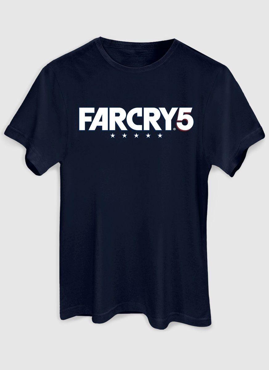 Camiseta Masculina Azul Marinho Far Cry 5 Logo