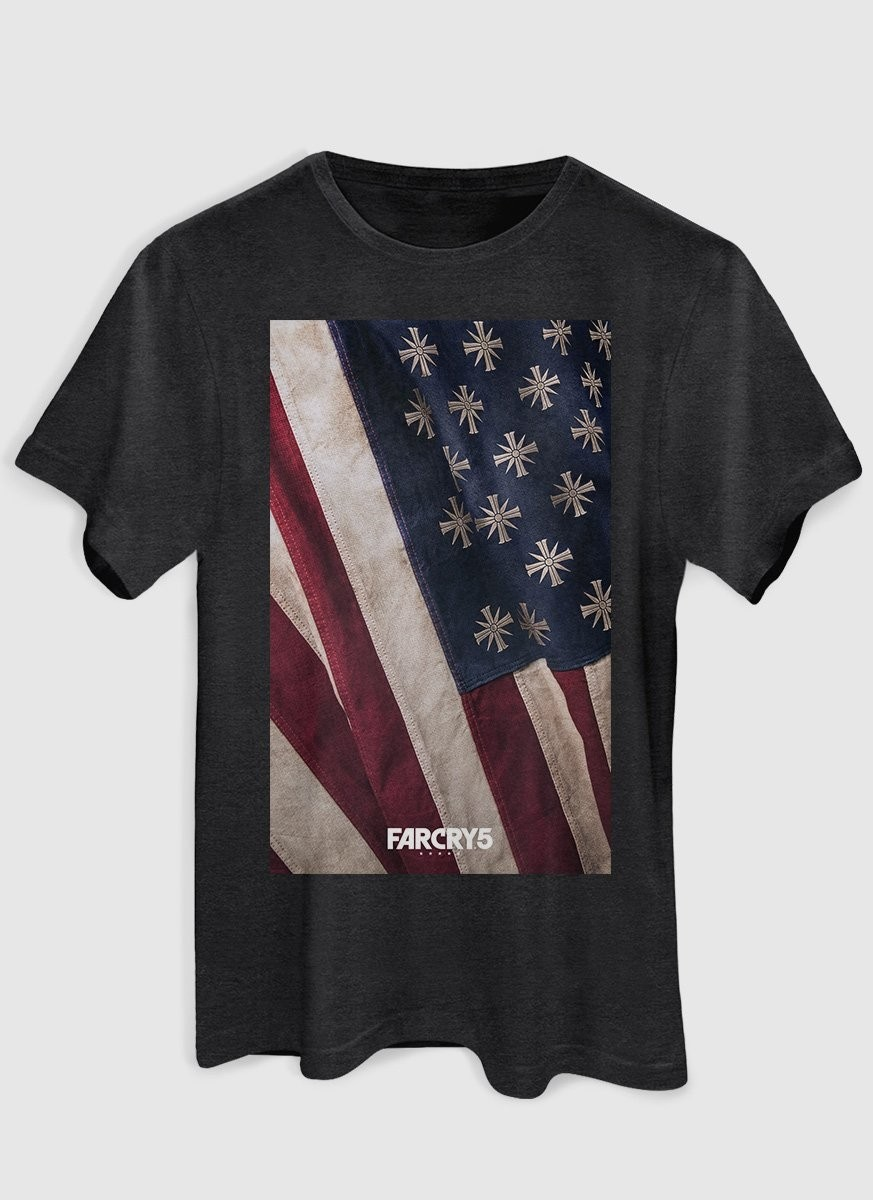 T-shirt Premium Masculina Far Cry 5 Cult Flag