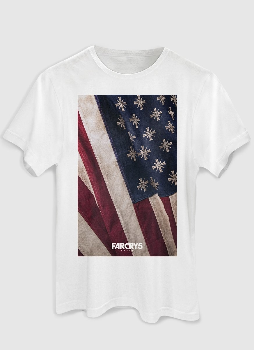 Camiseta Masculina Far Cry 5 Cult Flag White