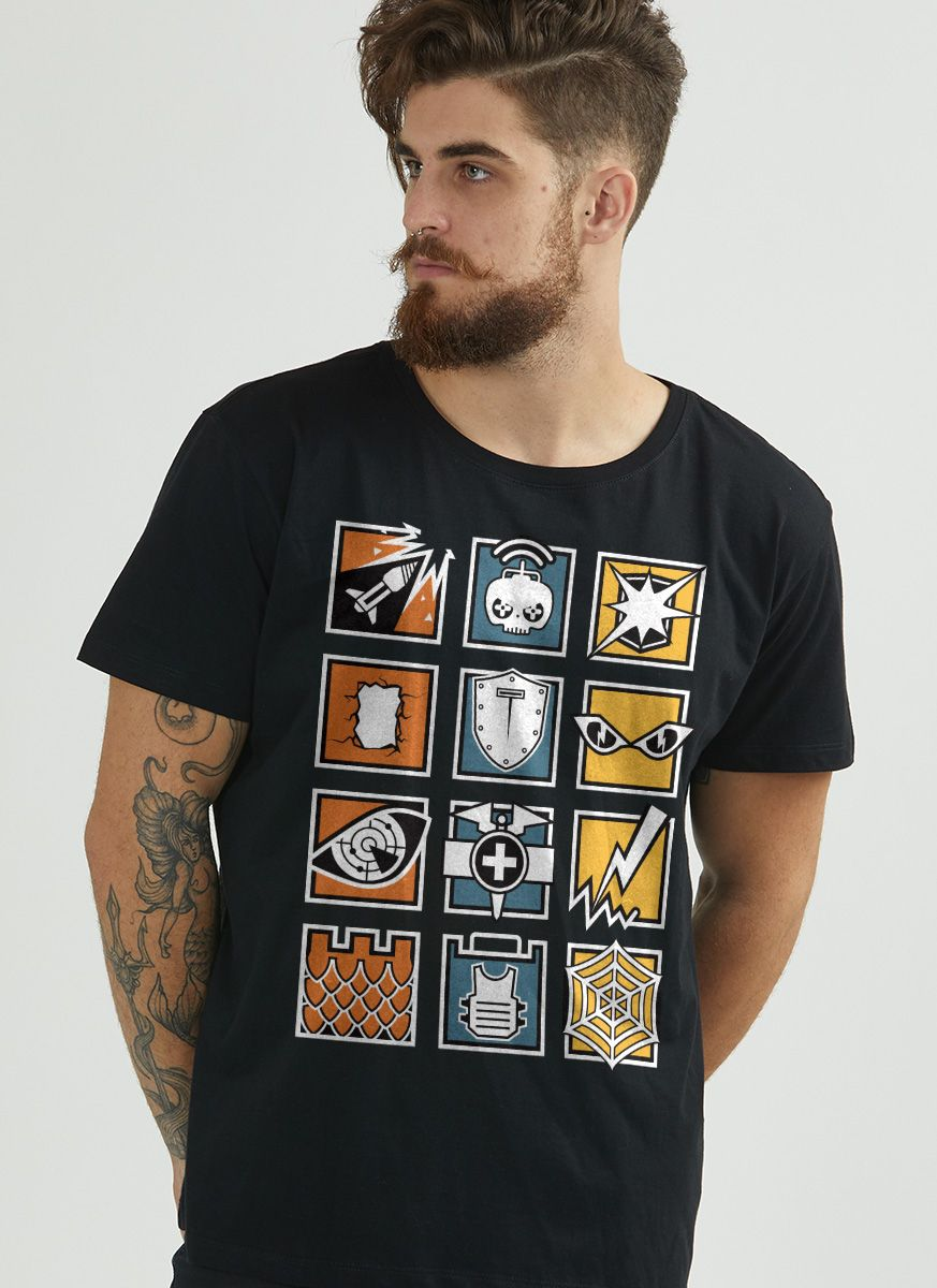 Camiseta Masculina Rainbow Six Icons