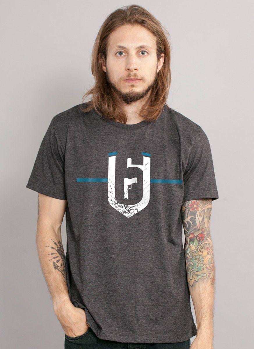 Camiseta Masculina Rainbow Six Siege Brasão Black Ice