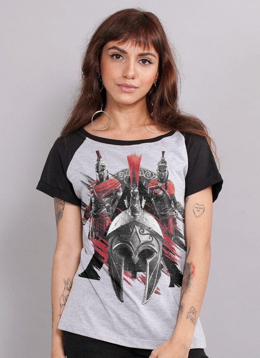 Camiseta Raglan Feminina Assassin's Creed Odyssey Espartanos