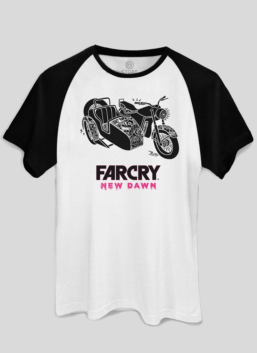 Camiseta Raglan Masculina Far Cry New Dawn Sidecar Motorbike