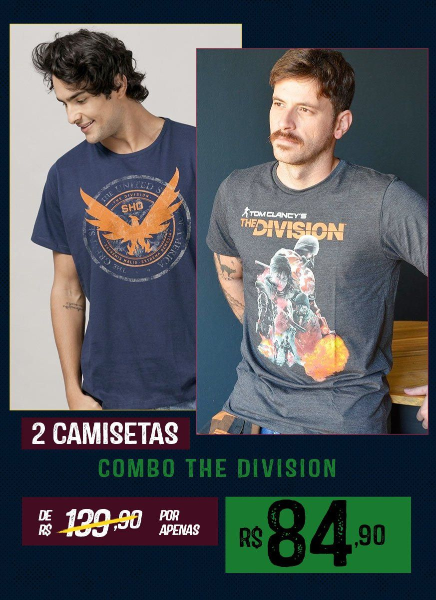 Combo 2 Camisetas Masculinas Tom Clancy's The Division 2