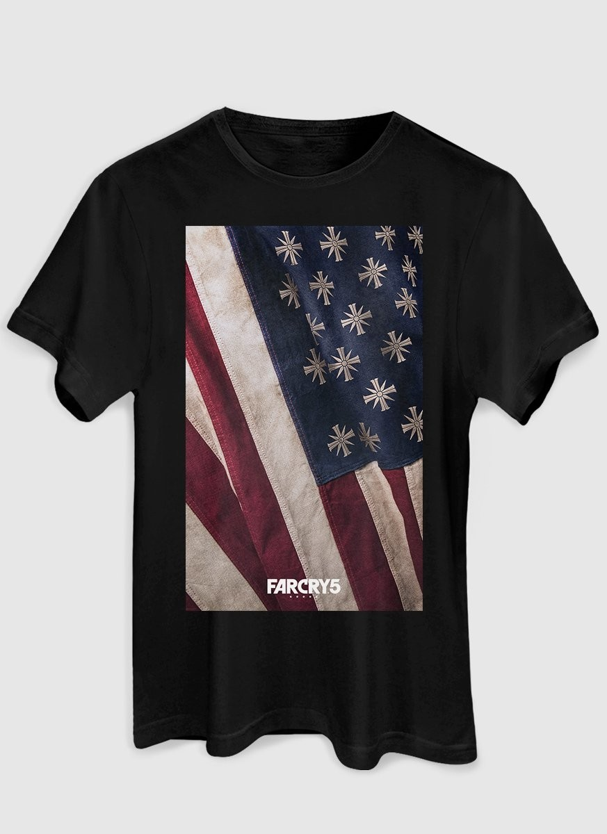 T-shirt Feminina Far Cry 5 Cult Flag Black