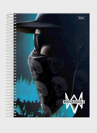 Caderno Watch Dogs 2 Mask 1 Matéria