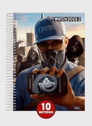 Caderno Watch Dogs Hacker 10 Matérias
