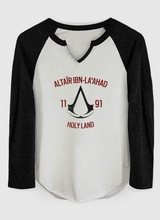 Camiseta Manga Longa Feminina Assassin's Creed Crest Altair