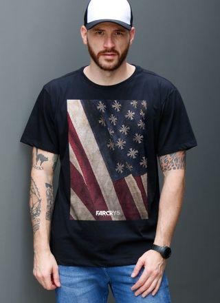 Camiseta Masculina Far Cry 5 Cult Flag Black