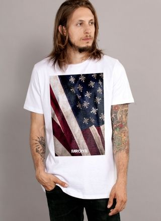 Camiseta Masculina Far Cry 5 Cult Flag White