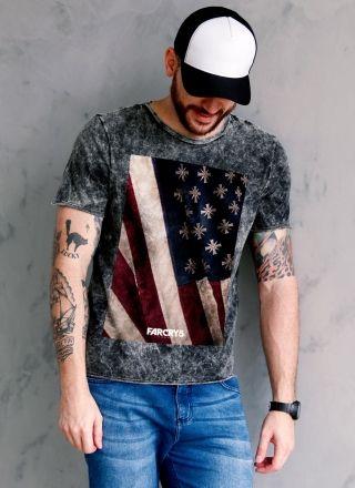 Camiseta Masculina Marmorizada Far Cry 5 Cult Flag