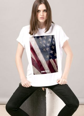 T-shirt Feminina Far Cry 5 Cult Flag White
