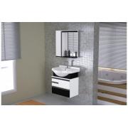 Conjunto Para Banheiro Com Espelheira Firenze 63,5cm Branco /Preto Texturado AJ Rorato