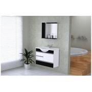 Conjunto Para Banheiro Florence 79,5cm Branco/Preto Texturizado AJ Rorato