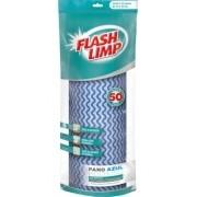 Pano Multiuso Rolo Com 50 Unidades Azul FlashLimp